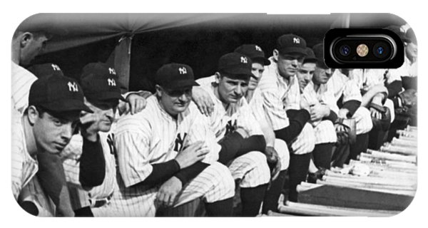 Yankee Stadium iPhone Case - Dimaggio In Yankee Dugout by Underwood Archives