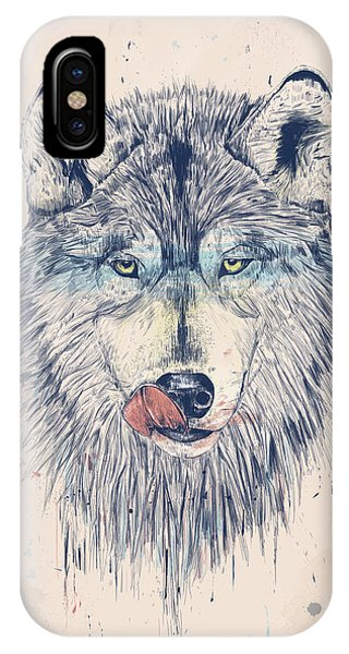 Wolf iPhone Case - Dinner Time by Balazs Solti