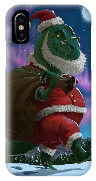 Dinosaur Christmas Santa Out In The Snow IPhone Case