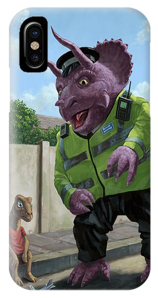 Dinosaur Community Policeman Helping Youngster IPhone Case