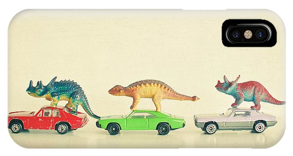 Dinosaur iPhone Case - Dinosaurs Ride Cars by Cassia Beck