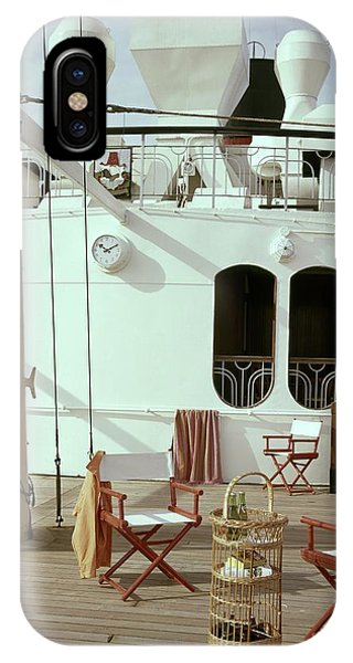 Directors Chairs In Front Of The Ship The Queen IPhone Case
