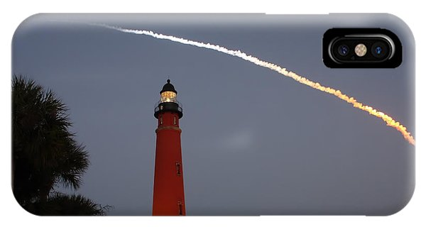 Discovery Booster Separation Over Ponce Inlet Lighthouse IPhone Case