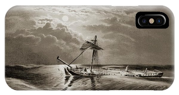 Drown iPhone Case - Dismasted Ship After A Storm. by David Parker/science Photo Library