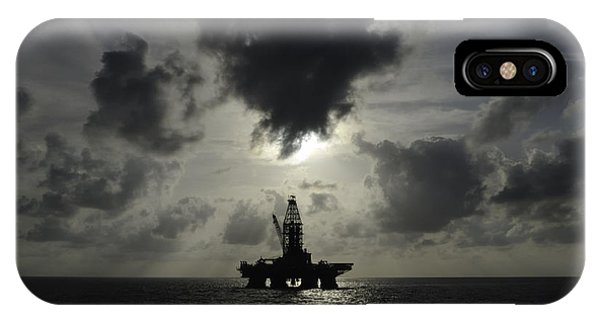 Distant Offshore Oil Rig IPhone Case