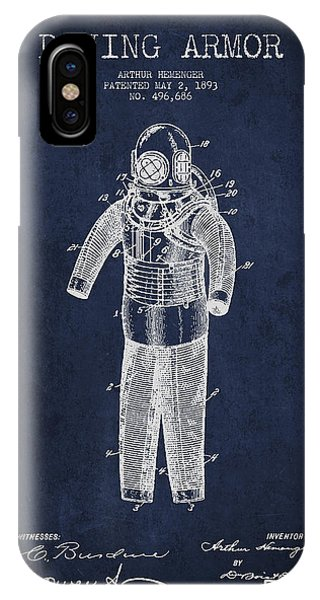 Scuba Diving iPhone Case - Diving Armor Patent Drawing From 1893 by Aged Pixel