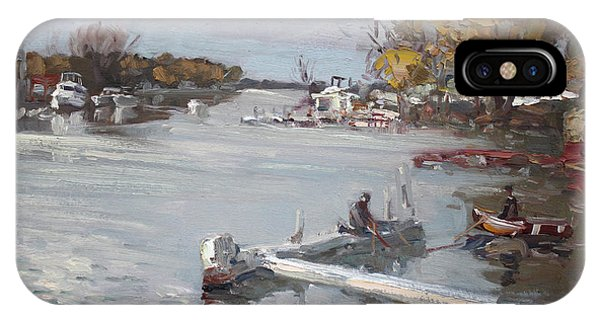 Docked Boats iPhone Case - Dock At The Bay North Tonawanda by Ylli Haruni