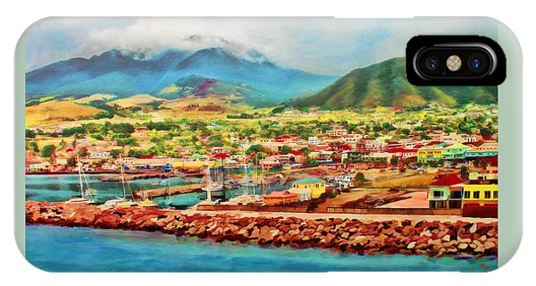 IPhone Case featuring the mixed media Docked In St. Kitts by Deborah Boyd