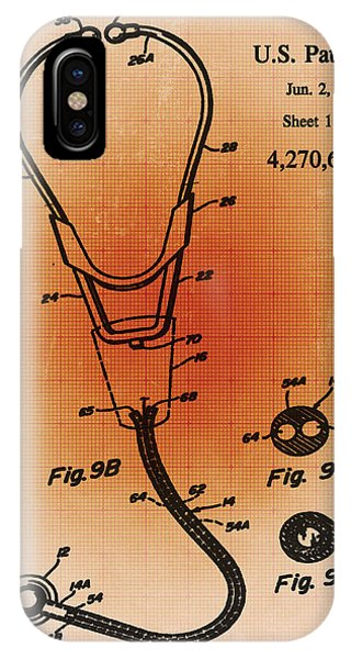 Technical iPhone Case - Doctor Stethoscope 2 Patent Blueprint Drawing Sepia by Tony Rubino