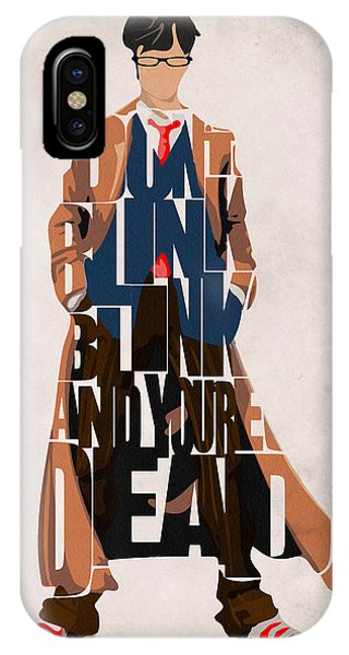 Mixed-media iPhone Case - Doctor Who Inspired Tenth Doctor's Typographic Artwork by Inspirowl Design