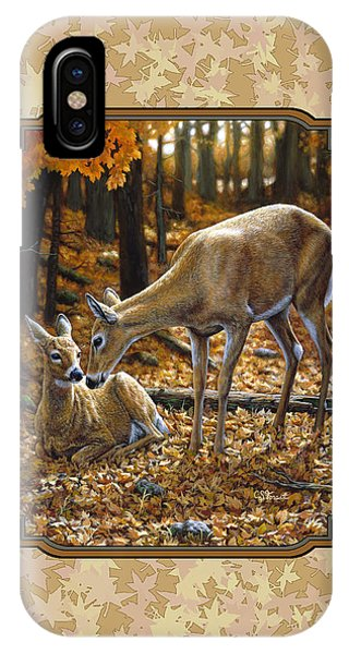 Doe And Fawn Autumn Leaves Pillow And Duvet Cover IPhone Case