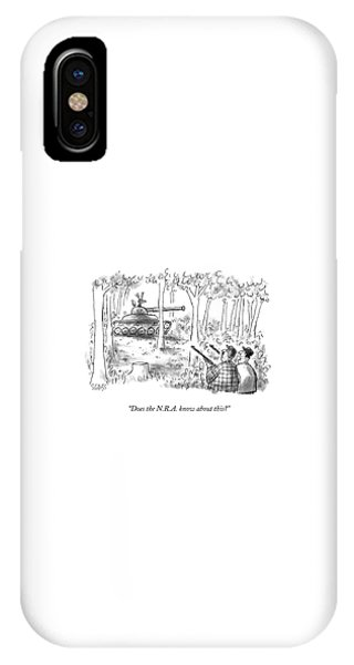 Stag iPhone Case - Does The N.r.a. Know About This? by Sam Gross