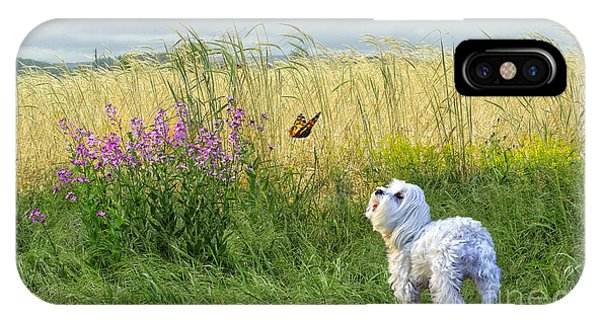 Dog And Butterfly IPhone Case