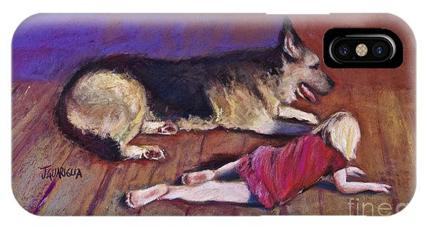 Dog And Child Phone Case by Joyce A Guariglia