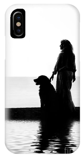 Bernese Mountain Dog iPhone Case - Dog And Woman With Reflections by Aleksey Tugolukov