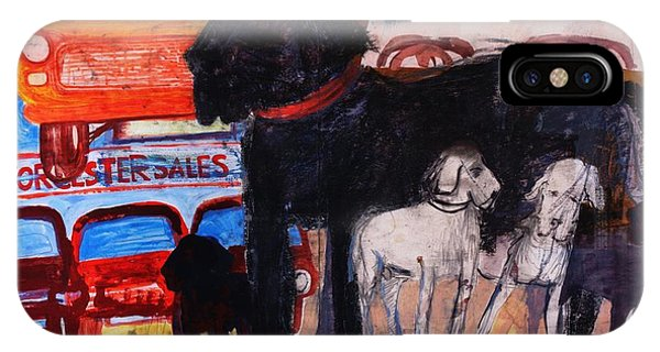 Dog At The Used Car Lot, Rex Gouache On Paper IPhone Case