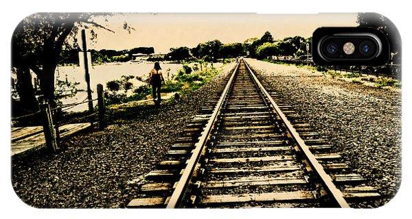 Dog Walk Along The Wayzata Train Tracks IPhone Case