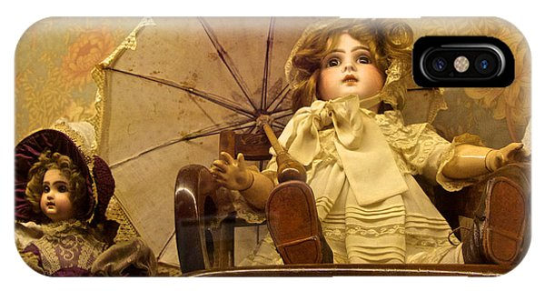 Antique Doll In Chair With Parasol IPhone Case