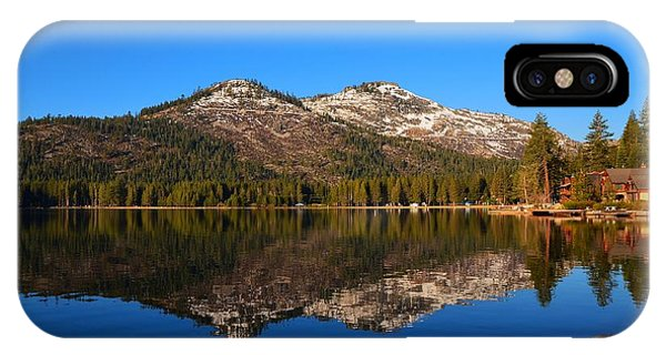 Donner Lake Cabin Reflection IPhone Case