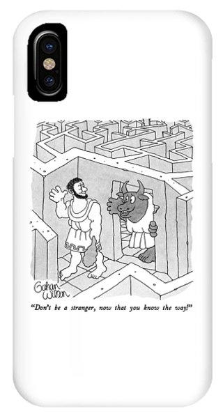 Minotaur iPhone Case - Don't Be A Stranger by Gahan Wilson