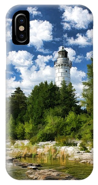 Cana Island Lighthouse Cloudscape In Door County IPhone Case