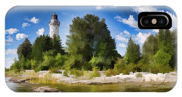 Door County Cana Island Lighthouse Panorama IPhone Case