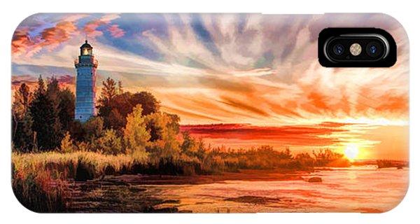 Door County Cana Island Lighthouse Sunrise Panorama IPhone Case