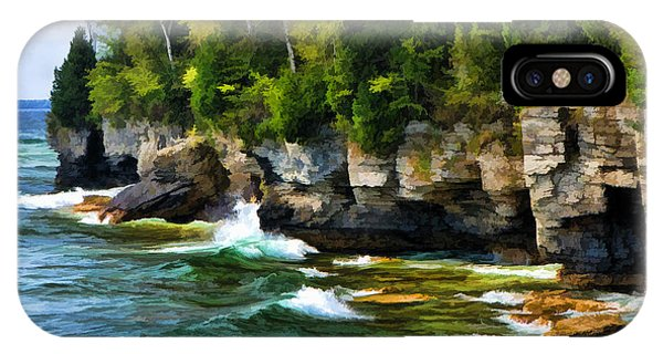 Door County Cave Point Cliffs IPhone Case