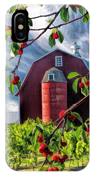 Door County Cherry Harvest Red Barn IPhone Case