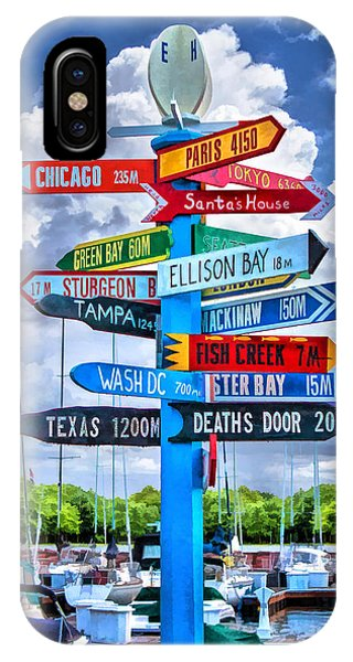 Door County Directional Sign In Egg Harbor IPhone Case