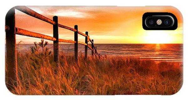 Door County Europe Bay Fence Sunrise IPhone Case