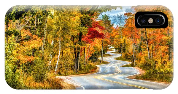 Door County Road To Northport In Autumn IPhone Case