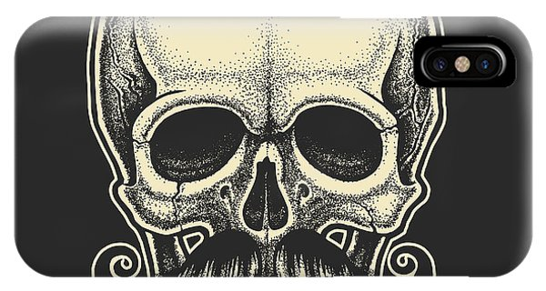 Anatomy iPhone Case - Dotwork Styled Skull With Moustache by Mr bachinsky