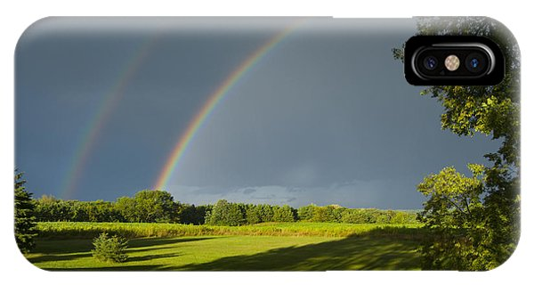 Double Rainbow Over Fields IPhone Case
