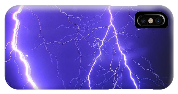 Double Triple Blue Lightning IPhone Case
