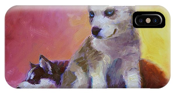 Double Trouble - Alaskan Husky Sled Dog Puppies IPhone Case