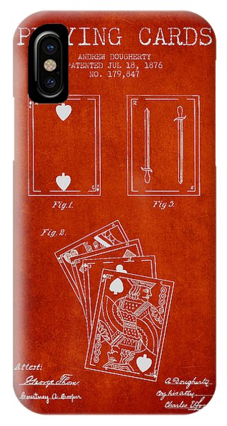 Playing iPhone Case - Dougherty Playing Cards Patent Drawing From 1876 - Red by Aged Pixel