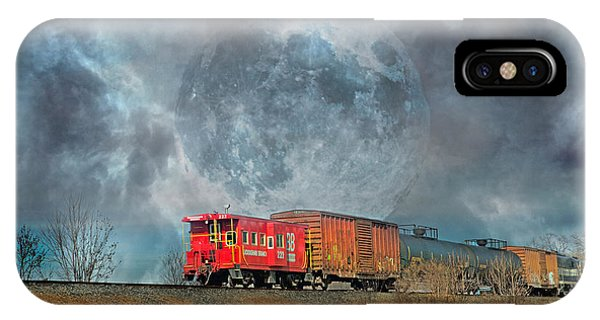 Red Caboose iPhone Case - Down The Line by Betsy Knapp
