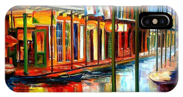 City Scenes iPhone Case - Downpour On Bourbon Street by Diane Millsap