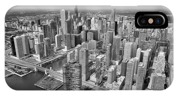 Downtown Chicago Aerial Black And White IPhone Case