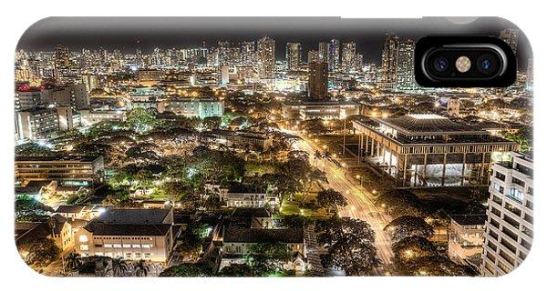 Downtown Honolulu Moonrise IPhone Case