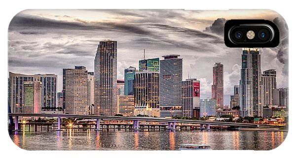 Downtown Miami Skyline In Hdr IPhone Case