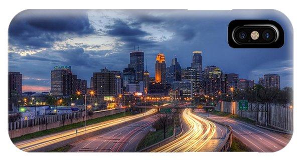 Downtown Minneapolis Skyline On 35 W Sunset IPhone Case