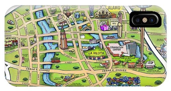 Downtown San Antonio Texas Cartoon Map IPhone Case