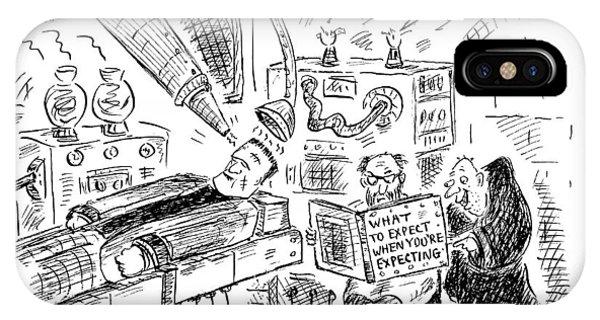 Dr. Frankenstein Reading A Pregnancy Book IPhone Case