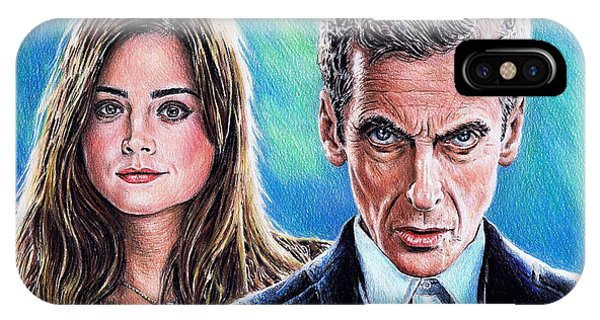 Coloured Pencil iPhone Case - Dr Who And Clara by Andrew Read