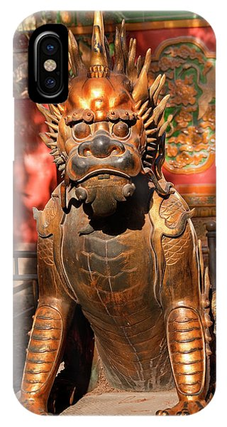 Forbidden City iPhone Case - Dragon Bronze Statue With Hand On Ball by William Perry