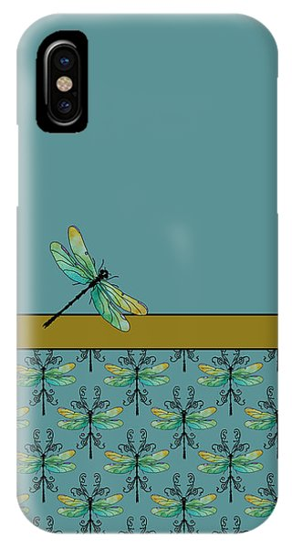 Teal iPhone Case - Dragon Fly Nouveau by Jenny Armitage