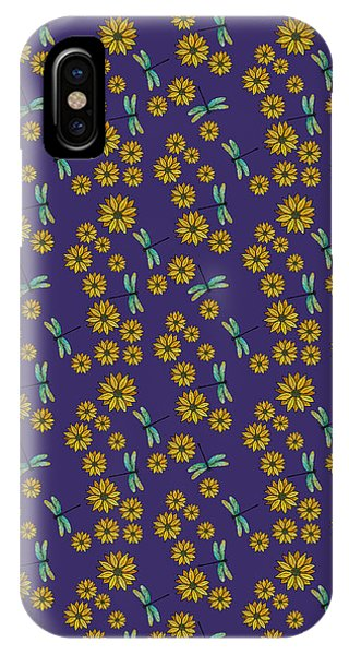 Teal iPhone Case - Dragonflies And Daisies On Plum by Jenny Armitage