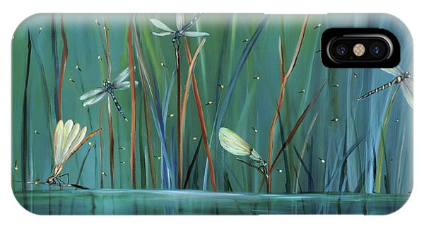 Impressionism iPhone X Case - Dragonfly Diner by Carol Sweetwood